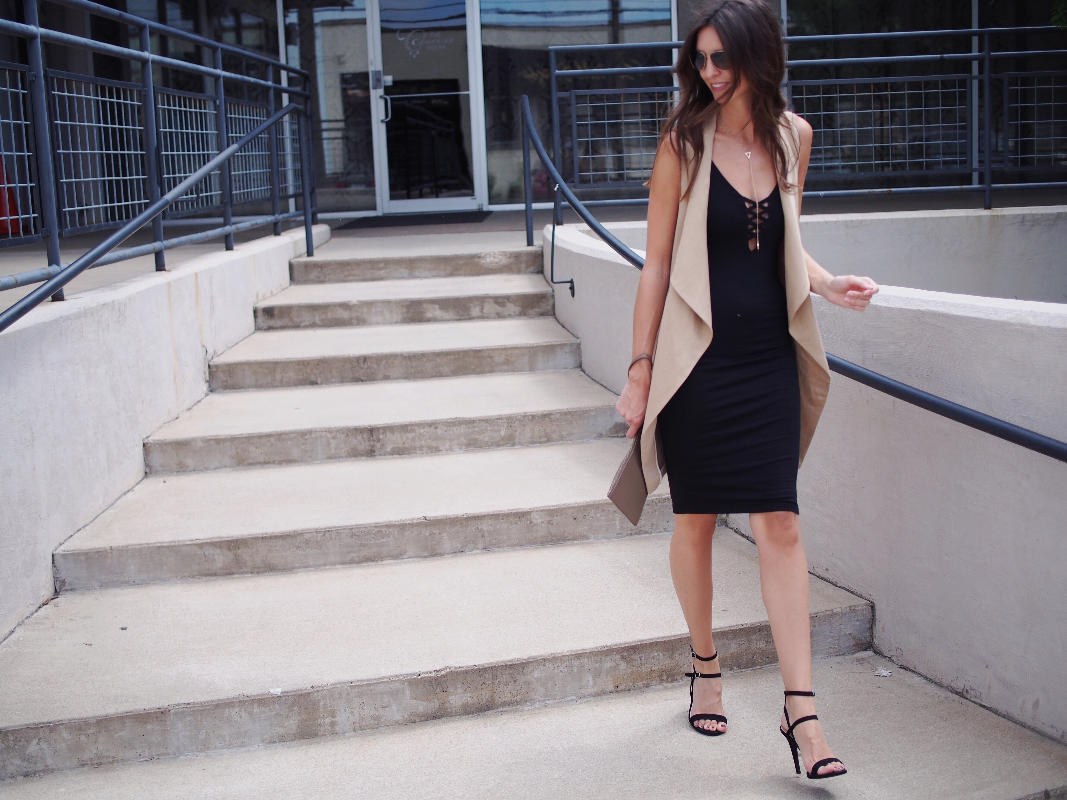 Zara-vest-and-black-dress-