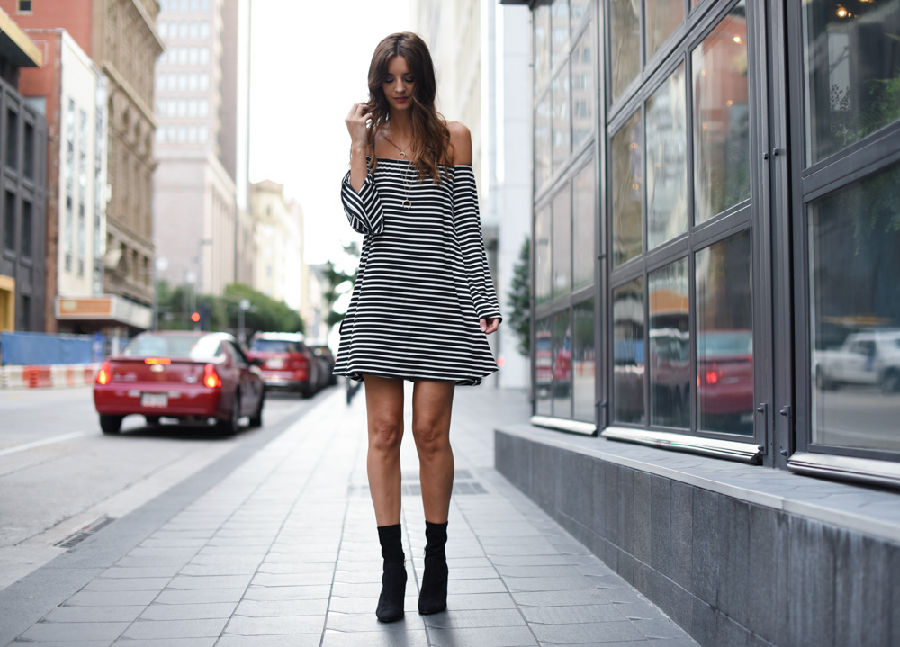 Striped Bardot Dress