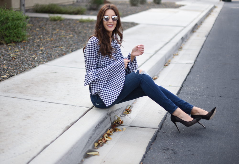 Tiered Sleeves and Gingham Print