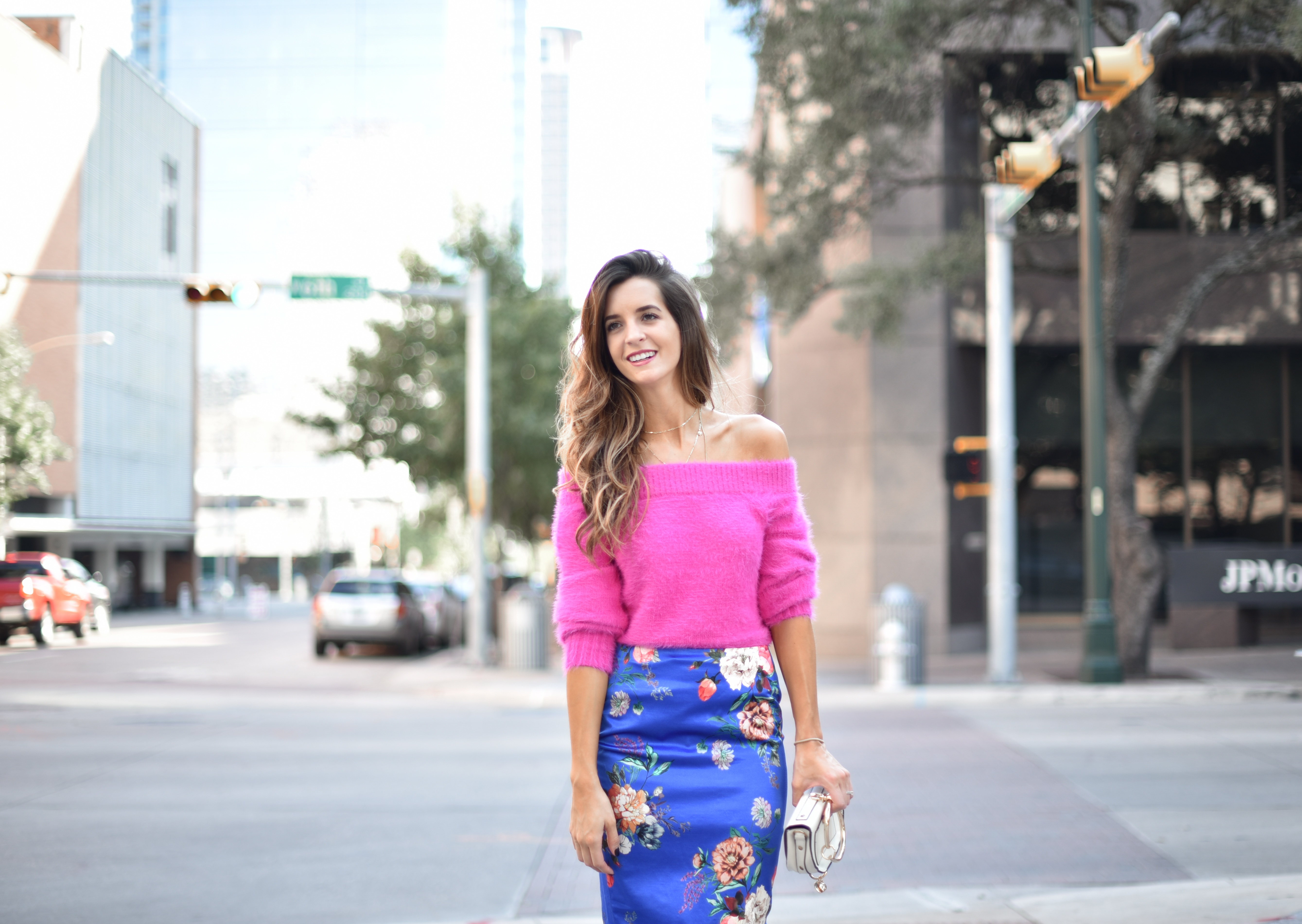 Pink Sweater and Floral Skirt