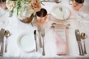 pink napkin copper mug wedding