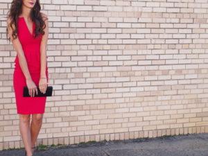 red bcbg peplum dress