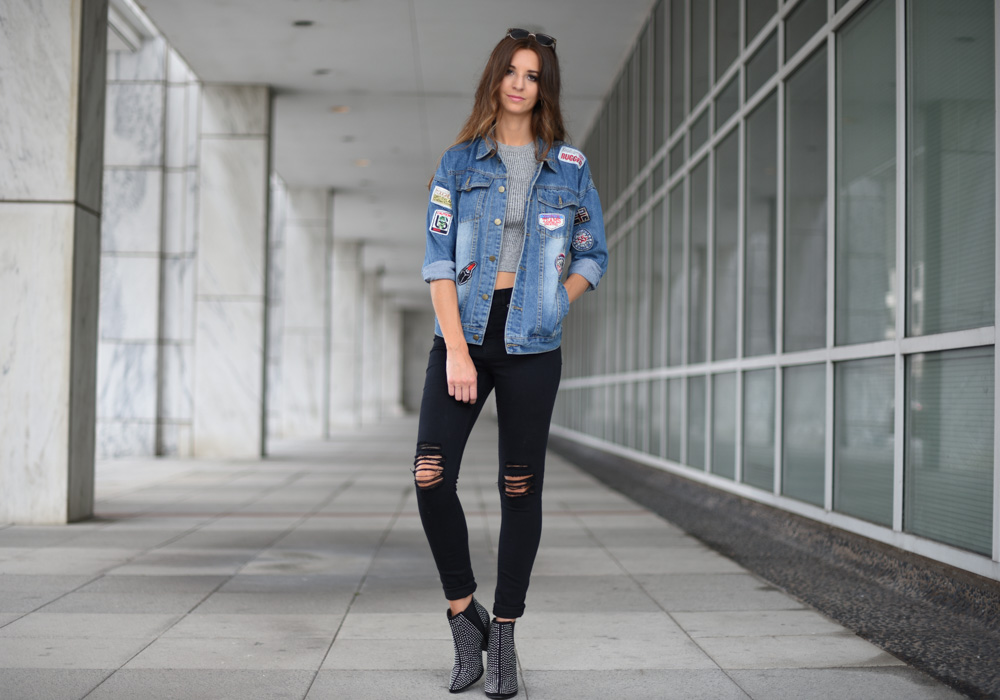 cheap affordable patch denim jacket