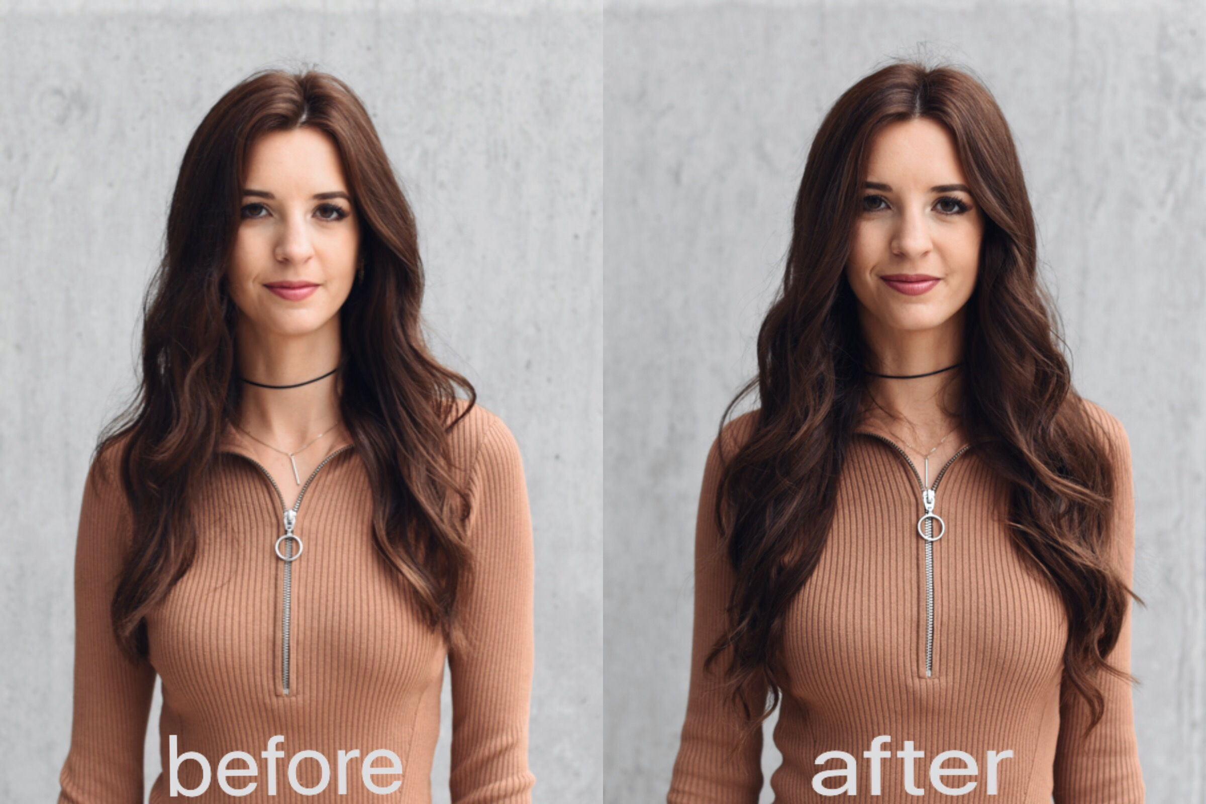 """Left: No extensions. Right: 20"""" 200g Medium Brown Silky Touch hair Extensions"""