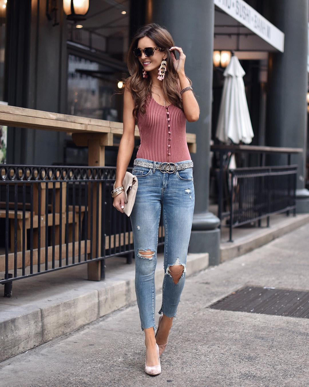 Spring staples Denim Bodysuits and Statement earrings Link in profilehellip
