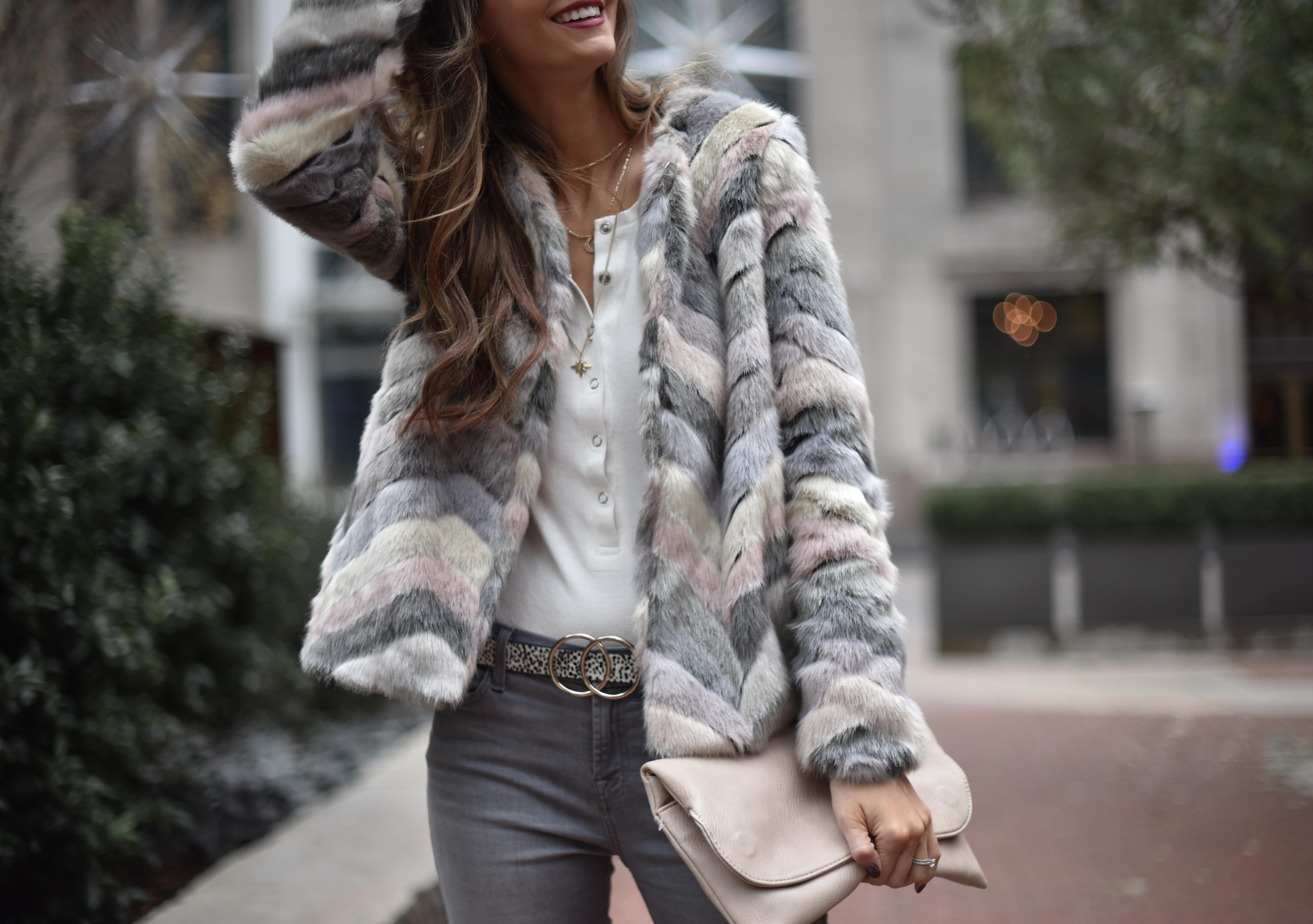Faux Fur Coat + Christmas Plans